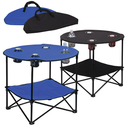 Perfect Picnic Folding Table W/ Metal Frame   4 Cup Holders   Portable