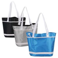 Shopping Tote Bag w/ Lined Interior & Multiple Pockets - Retro