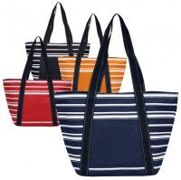 Shopping Tote Bag w/ Striped Contrast - Polyester - Capri
