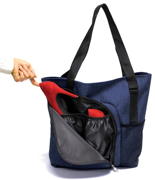 shopping tote bag w two shoe pockets polycanvas