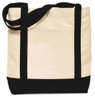 "16"" Cotton Tote Bag w/ Snap Closure - Two Tone - Ensign"