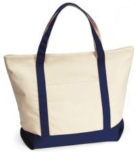 "16 oz. Cotton Tote Bag w/ Zipper - 21"" Wide - Harbor Cruise"