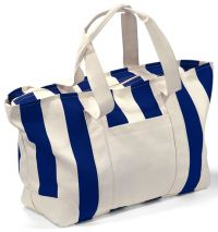 "25"" Cotton Tote Bag w/ Zipper Closure - 12 oz. - Striped"