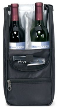 Wine Bottle Bag w/ Front Insulated Pocket - 420D Dobby Nylon
