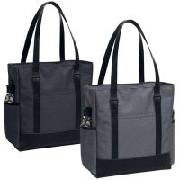 Zippered Polycanvas Tote Bag w/ Laptop Sleeve - Dahlia